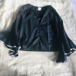Misa Los Angeles bell sleeved navy blouse